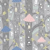Lewis & Irene - Fairy Lights - 6092 - Fairy Houses on Grey (Glowing) - A306.1 - Cotton Fabric